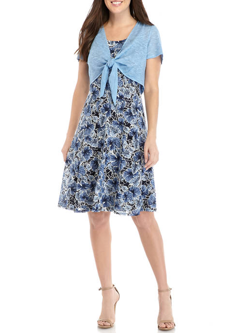 Womens 2 Piece Tie Front Jacket with Lace Fit and Flare Dress