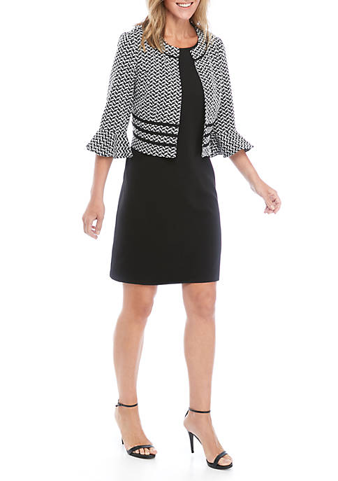 Perceptions Bell Sleeve Basket Weave Jacket Dress Set