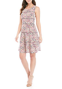 Perceptions Sleeveless Tiered Dot Print Dress