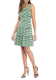 Perceptions Sleeveless Tiered Dot Pattern Dress