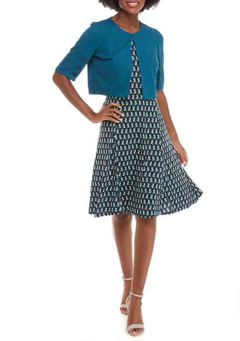 Perceptions Womens Elbow Sleeve Jacket Geo Print Dress