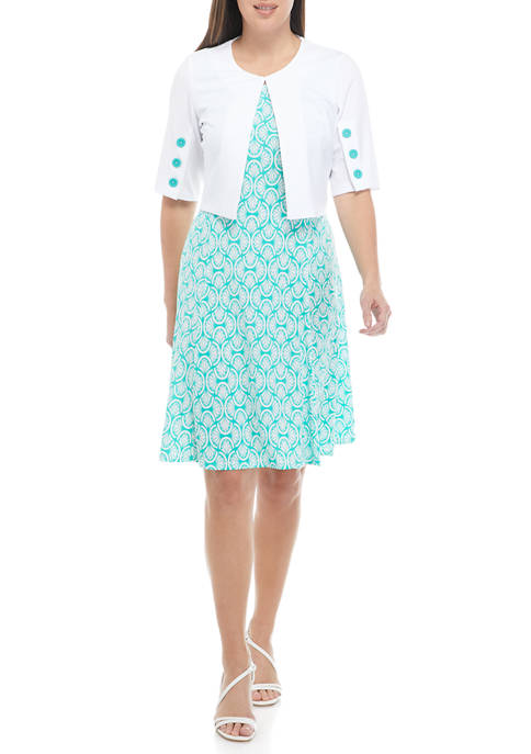 Perceptions Womens Fit and Flare Dress with Button
