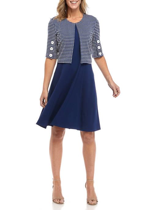 Womens Knit Jacquard Jacket Dress