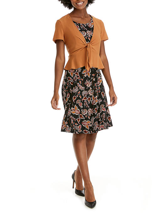 Womens Tie Peplum Jacket Dress