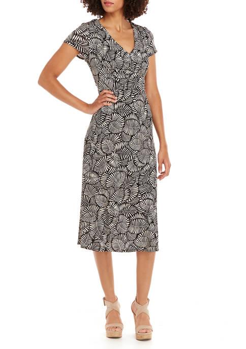 Perceptions Womens Fan Print Empire Waist Midi Dress