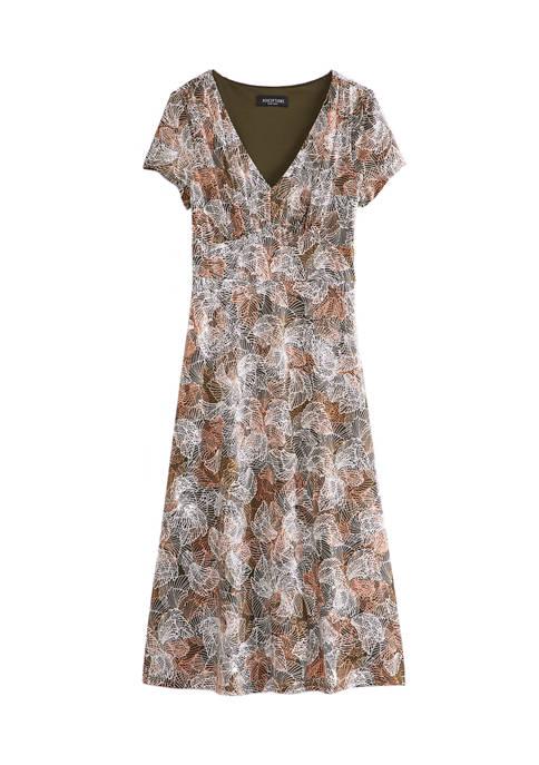 Womens Palm Print Empire Waist Midi Dress