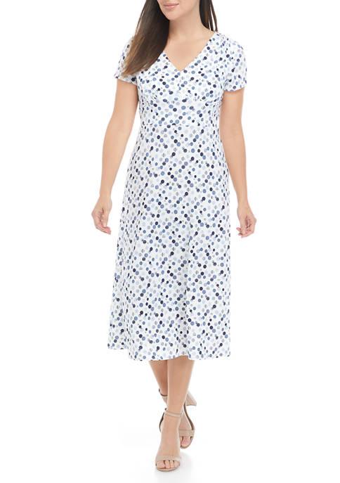 Womens Short Sleeve Multi Dot V-Neck Midi Dress
