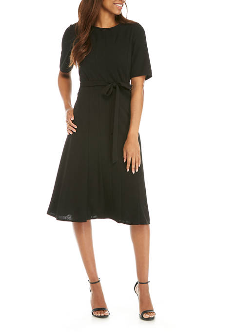 Perceptions Womens Elbow Sleeve Seam Belted Midi Dress