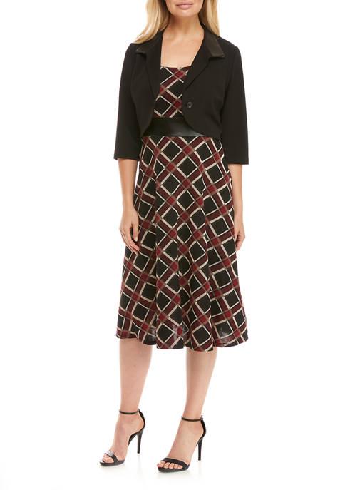 Womens Pleather Trim Jacket Dress