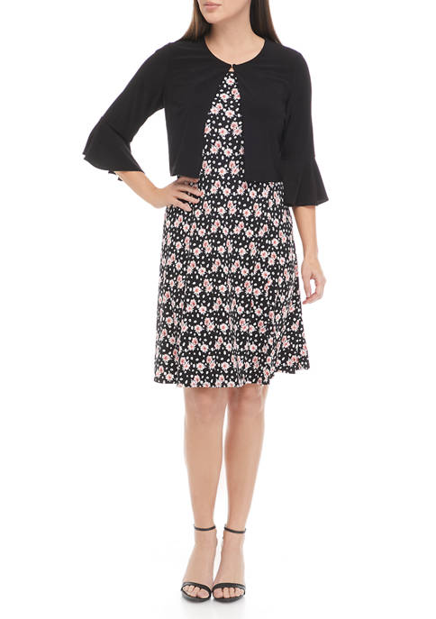 Perceptions Womens Floral Fit and Flare Dress with