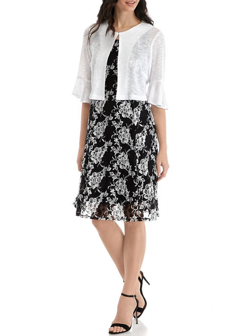 Perceptions Womens Sleeveless Floral Lace Dress and Cardigan