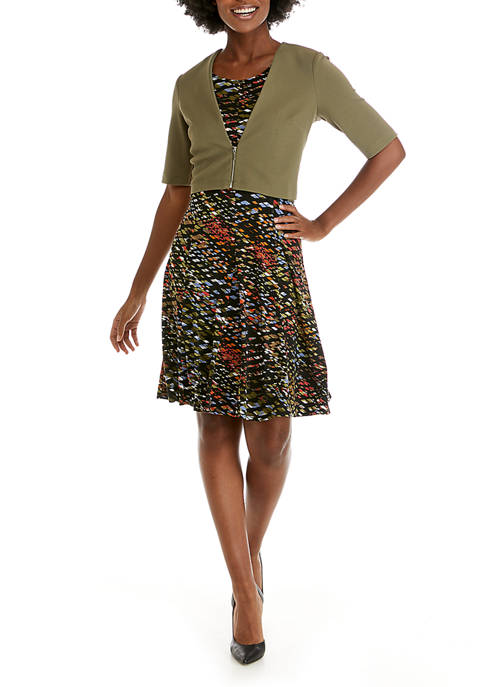 Perceptions Womens Solid Zip Jacket Dress