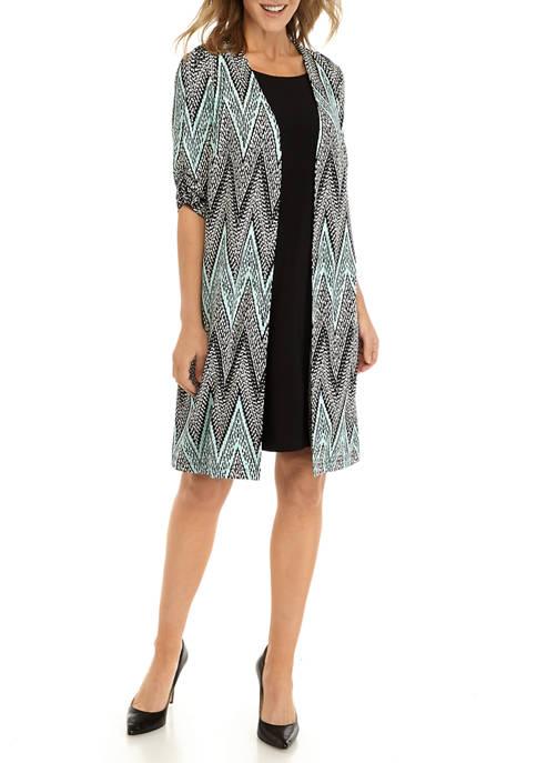 Perceptions Womens Chevron Long Jacket Shift Dress