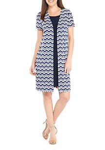 Mock 2-Piece Jacket Dress