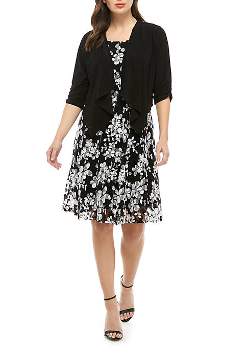 Ruffle Front Jacket With Printed Dress