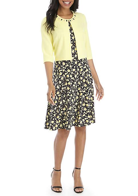 Jewel Neck Jacket and Dress Set
