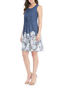 Perceptions Sleeveless Paisley Denim Pleat Printed Dress