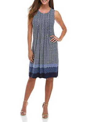 21c76434781c Perceptions Sleeveless Graphic Print Pleated Front Dress ...