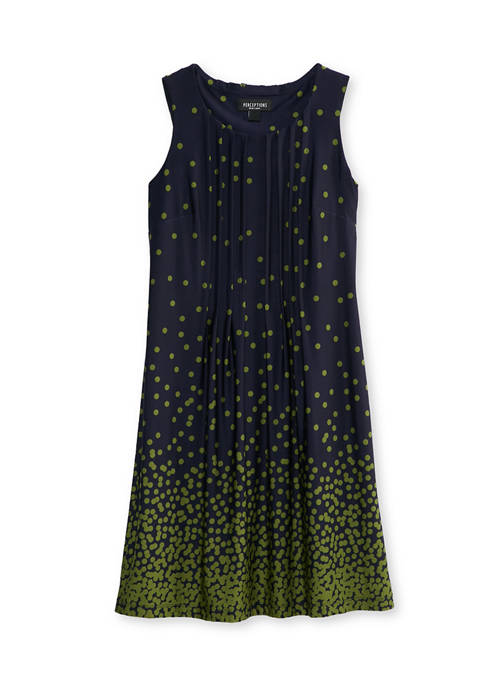 Perceptions Womens Sleeveless Pintuck Dot A-Line Dress