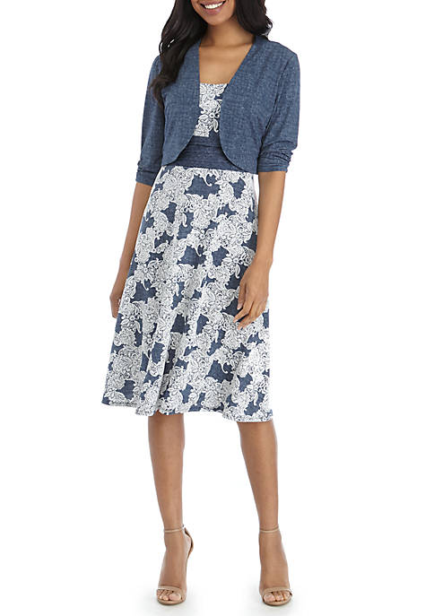 Perceptions Shirred Waist Puff Print Jacket Dress