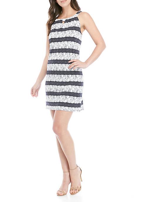 Lace Stripe Halter Neck Dress