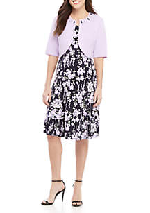Perceptions Jewel Neck Jacket with Floral Dress