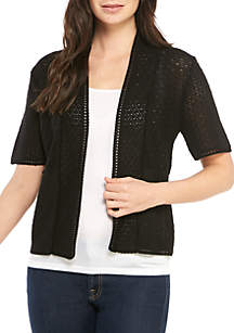 Perceptions Short Sleeve Allover Textured Stitch Cardigan