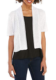 Perceptions Short Sleeve Allover Textured Stitch Cardigan
