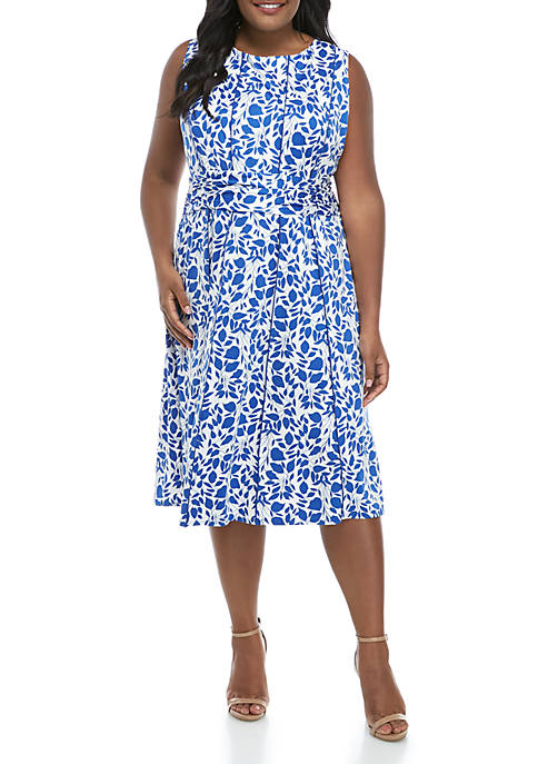 Plus Size Sleeveless Ruched Waist Floral Dress