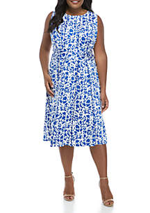 Perceptions Plus Size Sleeveless Ruched Waist Floral Dress