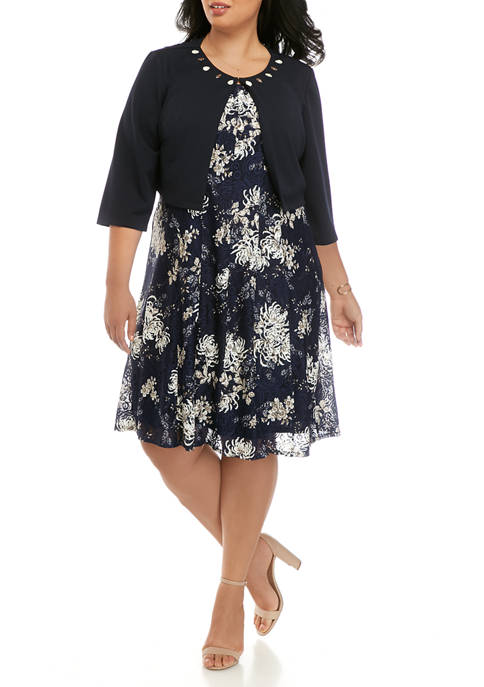 Plus Size Embellished Jacket Over Printed Lace Fit and Flare Dress