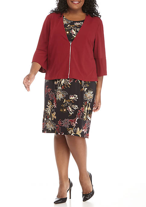 Perceptions Plus Size Jacket Bell Sleeve Printed Dress