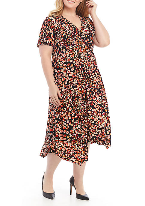 Plus Size Short Sleeve Side Twist Animal Pattern Midi Dress
