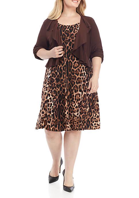 Perceptions Plus Size Animal Print Jacket Dress