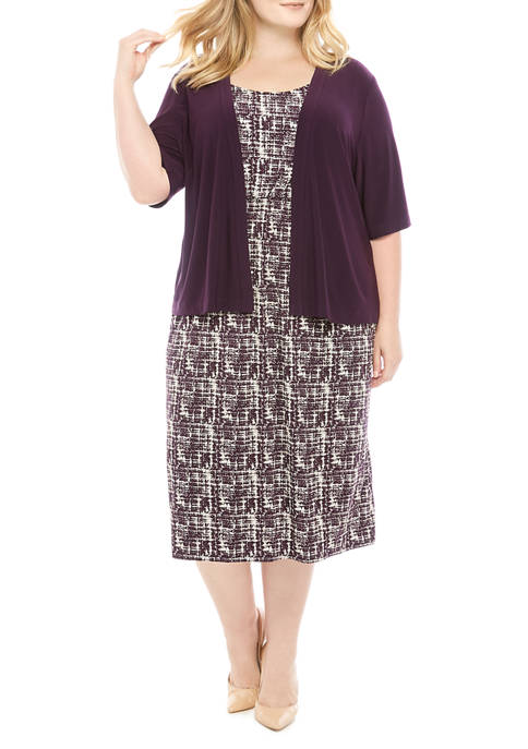Plus Size Solid Jacket with Print Dress