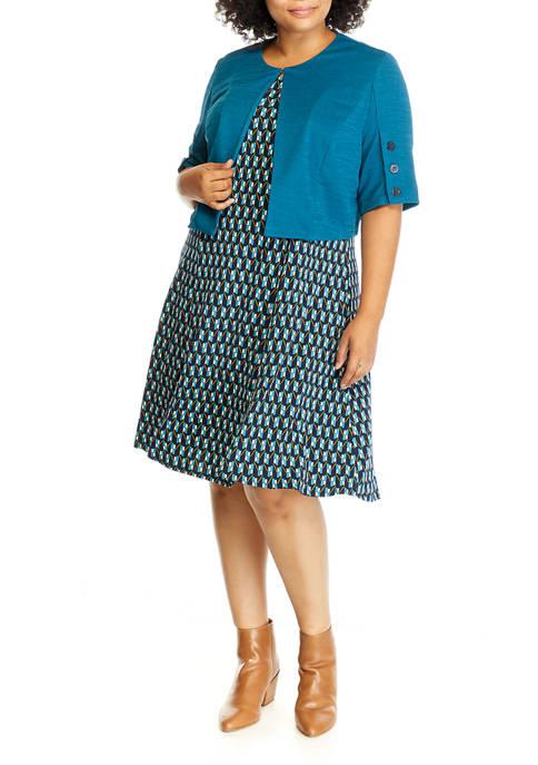 Perceptions Plus Size Solid Jacket Geo Dress