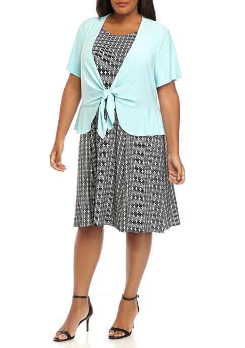 Perceptions Plus Size Solid Peplum Tie Jacket and