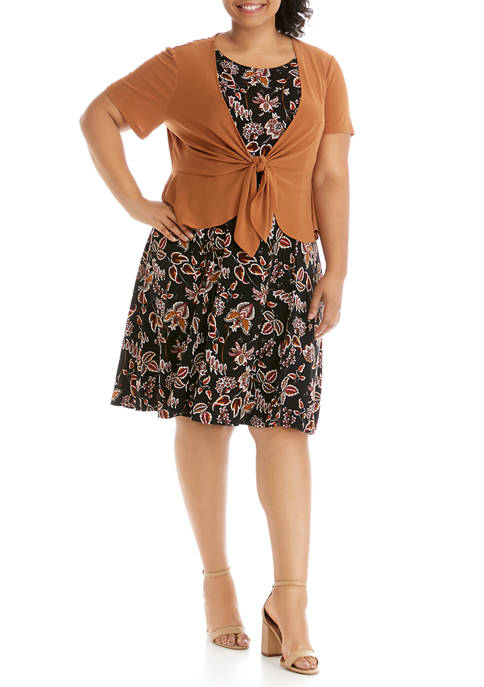 Plus Size Tie Front Peplum Jacket Dress