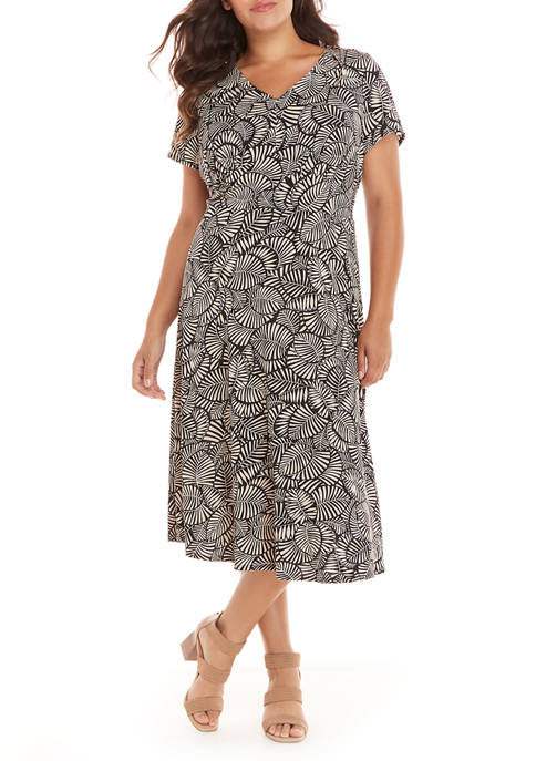 Perceptions Plus Size Short Sleeve Printed Midi Dress