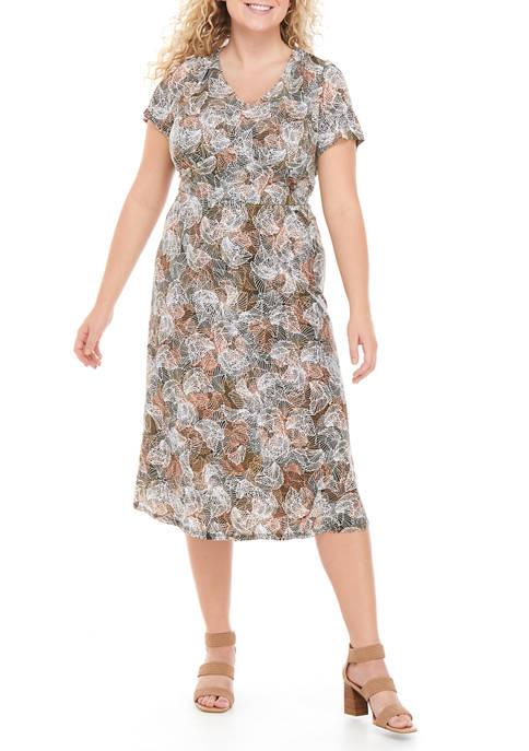 Plus Size Short Sleeve Empire Waist Midi Dress