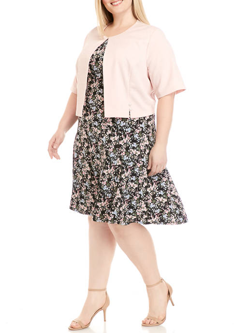 Perceptions Plus Size Pearl Jacket and Floral Dress