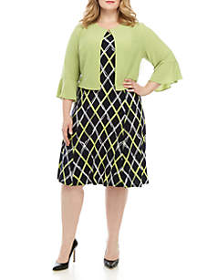 Perceptions Plus Size Bell Sleeve Jacket and Dress Set