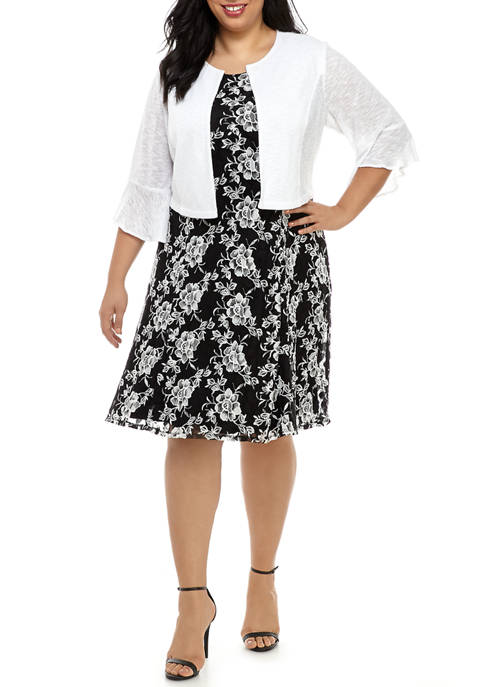 Plus Size Bell Sleeve Sweater Over Floral Fit and Flare Dress
