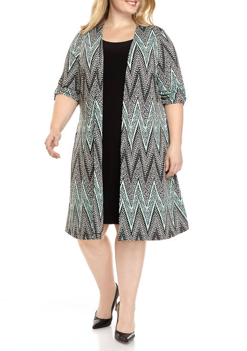 Perceptions Plus Size Chevron Long Jacket Dress