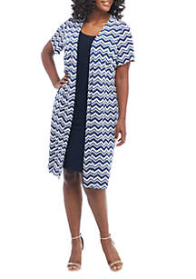 Plus Size Zigzag Jacket Dress