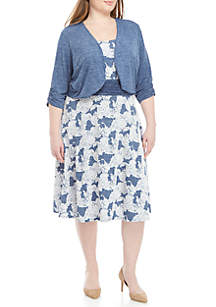 Perceptions Plus Size 2 Piece Puff Print Dress and Jacket