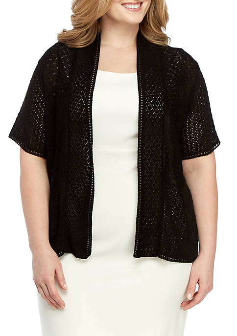 Perceptions Plus Size Short Sleeve Knit Shawl
