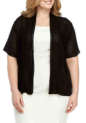 4264beef120 Perceptions Plus Size Short Sleeve Knit Shawl ...
