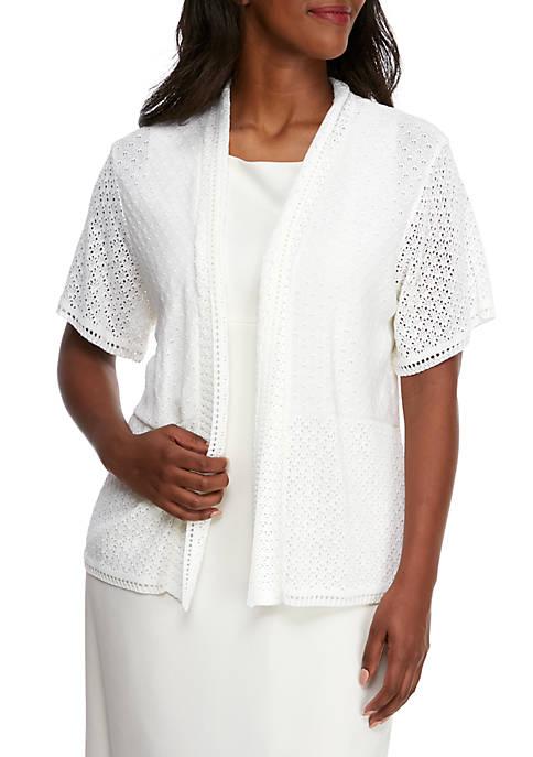 Plus Size Short Sleeve Knit Shawl