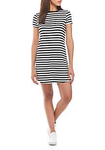 Short Sleeve Round Hem Stripe T-Shirt Dress